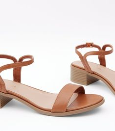 Tan Low Block Heel Sandals | New Look