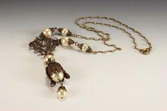 Vintage Style Statement Necklace Pearls Vintaj by HutaPearlJewelry, $55.00