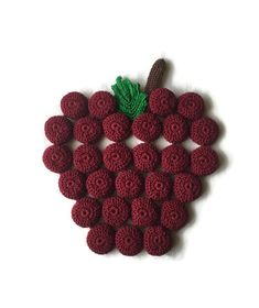 Excited to share this item from my #etsy shop: Apple Trivet / Apple Hot Pad / Crochet Apple Trivet /  Free Shipping Turtle Nursery, Crochet Apple, Brown Apple, Turtle Plush, Crochet Hot Pads, Reuse Plastic Bottles, Crochet Turtle, Pineapple Crochet, Crochet Kitchen
