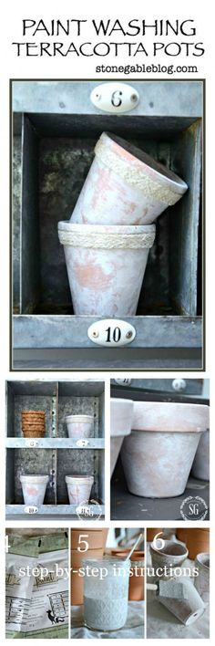 Paint Washing Terracotta Pots