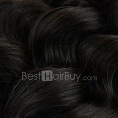 10 Inch - 30 Inch Loose Wavy Virgin Peruvian Remy Hair Weave Natural Black 100g