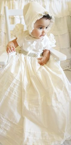 SILK Christening Gown, Baptism Gown, with Beaded Lace 0-3 months, 3-6 months, 6-9 months, 9-12 months, 12-18 months, 18-24 months,