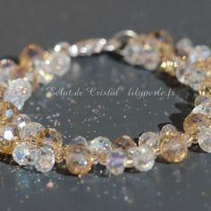Bracelet cristal swarovski eléments topaze et rocailles tchèques