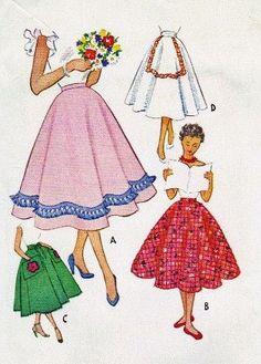 1950s Misses' Skirt Vintage Sewing Pattern Vintage Dress Patterns, Vintage Skirt, Clothing Patterns, Vintage Dresses, Vintage Outfits, Kids Patterns, Print Patterns, Patron Vintage, Quilted Skirt
