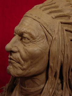 SITTING BULL Clay Sculpture