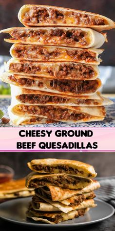 Looking for super Cheesy Ground Beef Quesadillas? Well seasoned ground beef, lots of ooey gooey cheese and a crispy golden brown exterior make these quesadillas simply Meat Recipes, Mexican Food Recipes, Cooking Recipes, Healthy Recipes With Chicken, Beef Recipes For Dinner, Burger Recipes, Casserole Recipes, Dessert Recipes, Ground Beef Quesadillas