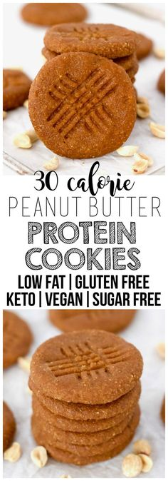 These soft & chewy Keto Vegan Peanut Butter Protein Cookies are the perfect healthy dessert or snack!gluten-free sugar-free oil-free low-fat low-carb & low-calorie - only 30 calories each! Low Fat Desserts, Protein Desserts, Healthy Protein Snacks, Healthy Dessert Recipes, Healthy Desserts, Gourmet Recipes, Low Fat Vegan Recipes, Vegetarian Recipes, Low Fat Snacks