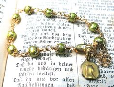 Catholic Rosary Bracelet  antique Lourdes goldplated medal by RosenkranzAtelier on Etsy