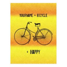 You Plus Bicycle Equal Happy Antique Yellow Orange Postcard   biker babe, rzr quotes, dirtbike quotes #bikerquote #bikers #bikelove, 4th of july party