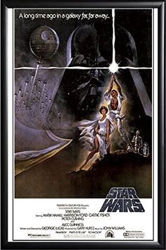 FRAMED Star Wars 24x36 Poster in Black Detail Finish Crafted in USA