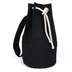 Eshow Mens Canvas Travel Drawstring Backpack Black *** Be sure to check out this awesome product.