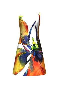 Yellow tulip Designed at constrvct.com Fashion Painting, Fashion Art, Fashion Beauty, Fashion Show, Textile Design, Textile Art, Fabric Design, Fabric Painting, Fabric Art