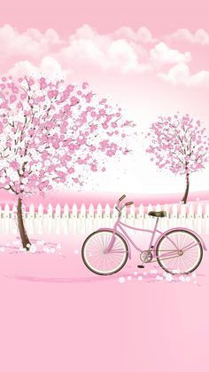 Pink, pink, pink, trees, clouds, and bike. Cute painting idea for a girls room.