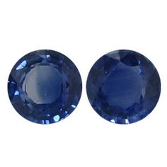 0.84 ct Pair of Round Blue Sapphires Royal Blue -Gold Crane & Co.