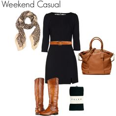Love this black dress, brown belt, and brown boots -- just add a pop of color with a necklace!