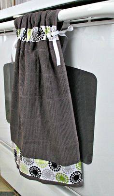 Tie Top Towels-Dark Gray Cotton Kitchen Towel-accented with gray, lime and black circles and dots.  Attaches to stove handle with ribbon. by allwrappedupandmore on Etsy