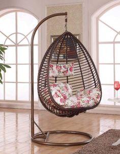 FLASH SALE!!! Rattan Hanging Garden Egg Pod Swing Chair With Cushion H645 Coffee