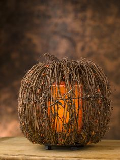 Twig Pumpkin Shade for Simmering Lights - Pink Zebra.  Replace your candles!  www.PinkZebraHome.com/MandyG
