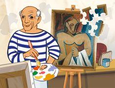 Pablo Picasso es uno de los artistas internacionales más conocidos en todo el mundo. De nacionalidad española, su fama se extendió rápidamente en el siglo XX por tener un estilo muy curioso en la elaboración de sus míticas obras de arte. Sus cuadros son cuanto menos curiosos, y muy llamativos para los niños por tener unas formas cubistas muy especiales. Pablo Picasso, Art Picasso, Picasso Portraits, Guernica, Art History Memes, Famous Artists Paintings, Paint Brush Art, Ecole Art, Gandalf