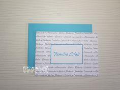 flavoli Papelaria Personalizada: Cartão duplo Nomes da família em duas cores Frame, Personalized Stationery, Names, Fiestas, Craft, Picture Frame, Frames