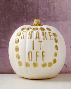 Shake it off, baby! This pumpkin, decorated with paint and a little gold glitter, is certainly befitting of a spot in Taylor Swift's coveted girl squad. Pumpkin decorated by Janet Stein, SVP, merchandising.
