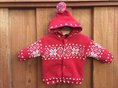 BABY-GAP-Newborn-Red-w-White-Cable-Knit-Button-Up-Sweater-Hood-Unisex-Holiday
