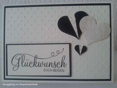 Hochzeitskarte - vanille, schimmerndes Herz