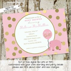 baby girl shower invitations or baptism pink and gold foil polka dots pink…