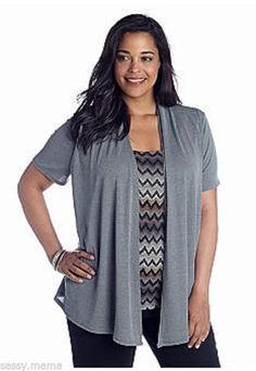 Kim Rogers by Belk Plus Size Print Inset 2-Fer Medium Grey NWT SX 2X #KimRogers #Blouse #Casual