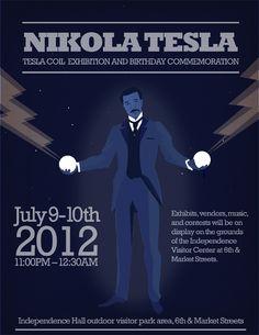 Nikola Tesla, Póster alusivo a una exhibición de Bobinas de tesla
