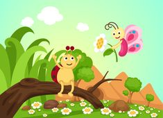 Cuento infantil con valores: La mariposita Rosita. Érase una vez una pequeña mariposa que volaba por el prado. Era frágil y delicada, y ... ¡lee más! Cartoon Butterfly, Landscape Background, Beautiful Landscapes, Tinkerbell, Pikachu, Disney Characters, Fictional Characters, Disney Princess, Abstract