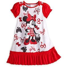 Disney Store Minnie Mouse Red Ruffled NightGown w/ Bows Size 3 Toddler Pajamas Cute Little Girls Outfits, Toddler Girl Outfits, Disney Clothing For Women, Disney Nightgowns, Singapore Fashion, Toddler Pajamas, Minnie Mouse Bow, Teddy Bear Clothes, Cute Toddlers