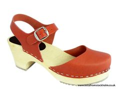 CLOGS Swedish Highwod Mary Jane Style in Red Leather   eBay