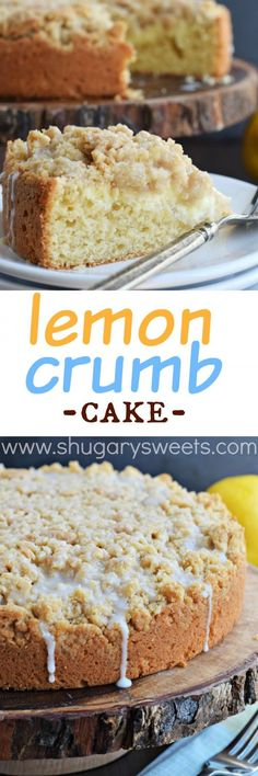 Lemon Crumb Cake recipe with a creamy lemon cheesecake filling! Perfect dessert for holidays or brunch!