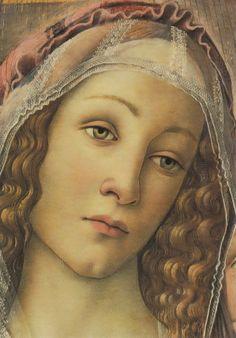 """gentlewave:  """"Sandro Botticelli (c. 1445–1510): Madonna of the Pomegranate [Madonna della Melagrana], c. 1487, (detail), tempera on panel, 143.5 x 143.5 cm, Galleria degli Uffizi, Florence, Italy, source: disarmoniepoetiche.blogspot.com and wga.hu.  """""""