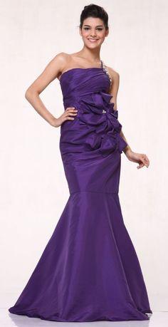 One Shoulder Rhinestone Strap Purple Prom Dress Formal Taffeta Flower  74,99$