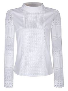 Smile Fish Women Lace Long Sleeve Elegant Chiffon Blouse Vintage Hollow Out Button Down Business Tops Collared Pleated Office Shirt White Blouse Designs, White Lace Blouse, Affordable Clothes, Affordable Fashion, The Office Shirts, Beautiful Blouses, Black Ruffle, Blouse Vintage, Printed Skirts