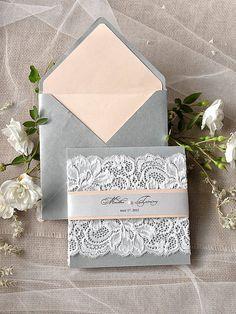 Lace Romantic Wedding Invitations (20) ,  Silver Peach Invites, Lace Wedding Invitations , Vintage Wedding invitation 4lovepolkadots,