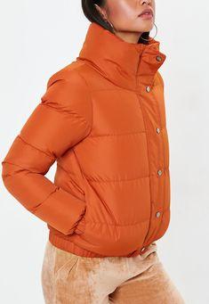 a12b1c6118db Missguided - Orange Puffer Jacket Down Coat