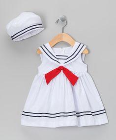 White Nautical Dress & Beret - Infant, Toddler & Girls