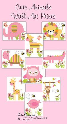 Mod Jungle Woodland Animals Wall Art Prints Baby Girl Nursery - Click Image to Close