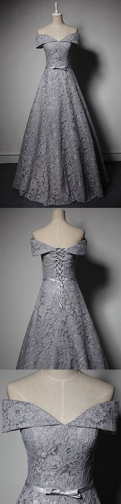 Princess Prom Dresses Long, Off-the-shoulder Party Dresses Lace, Modest Formal Dresses Grey, 2018 Evening Gowns Cheap