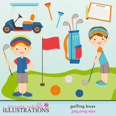 Golfing Boys by JW Illustrations 3.00