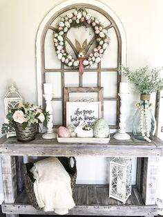 Awesome 35 Trendy Easter Decorations Ideas That Bringing A Farmhouse Appeal To Your Home. # Awesome 35 Trendy Easter Decorations Ideas That Bringing A Farmhouse Appeal To Your Home. # Click The Link For See Farmhouse Decor, Decor, Spring Home Decor, Entry Table Decor, Country Farmhouse Decor, Spring Home, Arched Wall Decor, Entryway Decor, Farmhouse Easter Decor