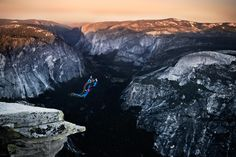 Flying Yosemite - Base Jumper jumps off Half Dome in Yosemite CA  www.christian-adam.com