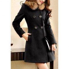 $22.48 Ladylike Style Long Sleeves Worsted Double-Breasted Coat For Women