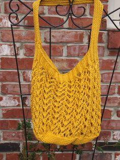 Mustard Lace Shopping/Farmer's Market/Beach Bag by Indigo Kitty Knits.