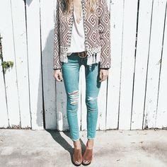Patterned jacket, light denim, mules/clogs