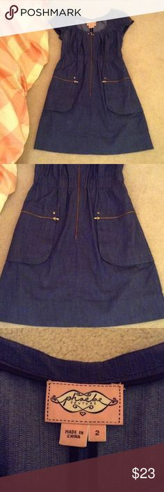 Phoebe Couture designer denim dress This dress is very figure flattering.  The waist is slightly gathered.  A very comfortable dress to wear.  Hem is right above knee (not too short- good length).   Excellent condition Phoebe Couture Dresses Mini