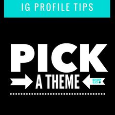 IG Profile Tips Pick a theme  A theme is the style of your feed. For instance our page is a checkered majority black white and turquoise . Look at your theme as a whole tapestry rather than individual pictures. There are so many ways to theme your IG theme.  Here are a few options.  All white: most of your pics have a majority white background.  Black & white: all pics are black & white.  Pastels: majority of your picks are pastels.  Bordered: all your pictures are framed with the same color…